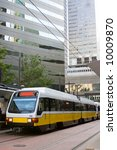Light rail train in downtown Dallas. - stock photo