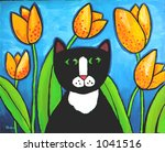 Illustration of Tuxedo Cat in Tulips - stock photo