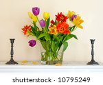 A photo of very colorful tulips - stock photo