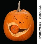 humorous large pumpkin eating smaller pumpkin - stock photo