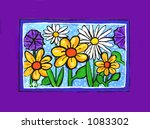 Spring Flowers Illustration with Purple Border - stock photo