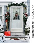 home entrance decorated for holidays - stock photo