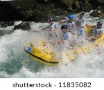 European rafting championship R6 on the rapids of river Vrbas near Banja Luka, Republika Srpska, Bosnia and Herzegovina - stock photo