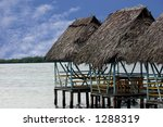 tropical building in the caribbean - stock photo