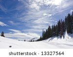Snowy mountain winter landscape, Jahorina, Republika Srpska, Bosnia - stock photo