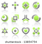 Collection of 12 design elements and graphics in green and gray color. Part 4. - stock vector