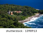 Benedictine Monastery on the Croatian island of Lokrum - stock photo