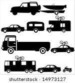 Holiday transportation recreation vehicles towing caravans and boats - stock vector