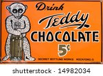 "Vintage ""Teddy chocolate"" drink sign - stock photo"