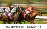 Abstract Motion Blur Horse Race - stock photo