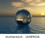 old ship in sphere - stock photo