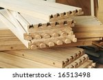 Machined dovetails in oak. - stock photo