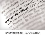 "Selective focus on the word ""evolution"". - stock photo"