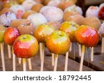 Apples in sugar. Traditional sweets at Swedish harvest festival. - stock photo