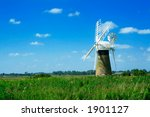 Windmill landscape. Norfolk, England. - stock photo