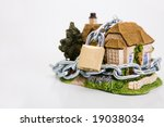 beautiful locked house on the white background - stock photo