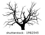 A gloomy dead oak tree - stock vector