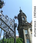 Old building and steel gates in Dresden, eastern Germany - stock photo