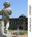 Palace Zwinger with statues on terrace in Dresden, easter Germany. - stock photo