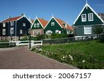 Houses in Marken, old fishermen place nearby Amsterdam in the Netherlands - stock photo