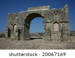 Volubulis, Roman ruins in Morocco - stock photo