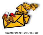 Troijan attachement in E-mail, junk mail - stock photo