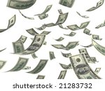 Falling hundred Dollar bills on white. 3D generated image - stock photo