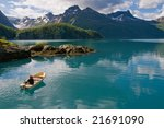 Boat on Norwegian fjord - stock photo