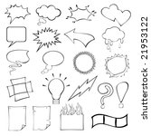 Cartoon speech bubbles and frames collection in hand-drawn style. - stock vector