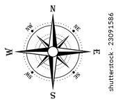 Compass rose in black and white - stock photo