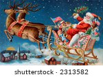 Santa and his sleigh flying above a sleepy village on Christmas eve - a 1906 vintage illustration - stock photo