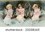 Three cute, little, girl friends in a woodland setting holding garlands of Spring flowers - a Victorian illustration, circa 1890 - stock photo