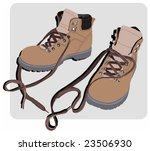 Vector color illustration of a pair of shoes/boots for working or hiking. - stock vector