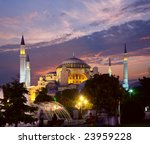 Hagia Sophia mosque in Istanbul at evening - stock photo