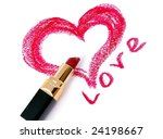 Drawn heart and lipstick.St Valentines Day - stock photo