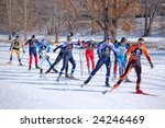 MINNEAPOLIS - FEBRUARY 1: Competitors in City of Lakes Freestyle Loppet in Minneapolis on February 1, 2009. - stock photo