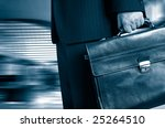 business man in a hurry in duo tone - stock photo