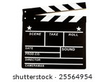 clapper board isolated on white - stock photo