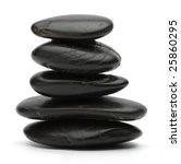 stack of balanced zen stones isolated on white background - stock photo