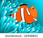 Clownfish hiding in sea anemones - stock vector
