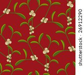 Seamless mistletoe background pattern, vector - stock vector
