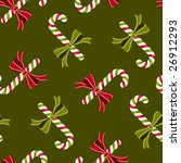 Seamless candy canes wallpaper pattern, vector - stock vector