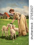Woman feeding lambs on Easter - A Victorian illustration, circa 1913 - stock photo