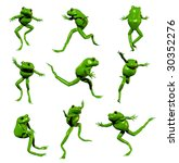 3D rendered green frogs - stock photo