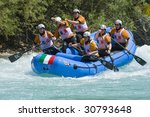 FOCA, REPUBLIKA SRPSKA, BOSNIA - MAY 20: Team ITALY in action on the 4th day of downriver competition at World Rafting Champs Banja Luka 2009 on Tara river May 20, 2009 in Foca. - stock photo