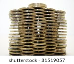 coins wall - stock photo