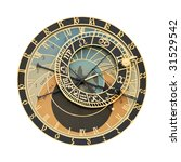 Prague Orloj astronomical clock isolated on white - stock photo