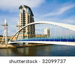 Manchester Lowry Bridge - Salford - stock photo