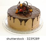 Triple layer chocolate cake - stock photo