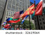 Flags of the world in new york city - stock photo